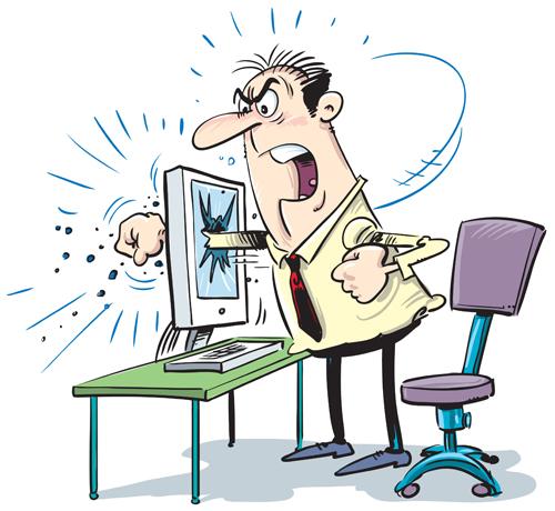 frustrated man punching computer monitor