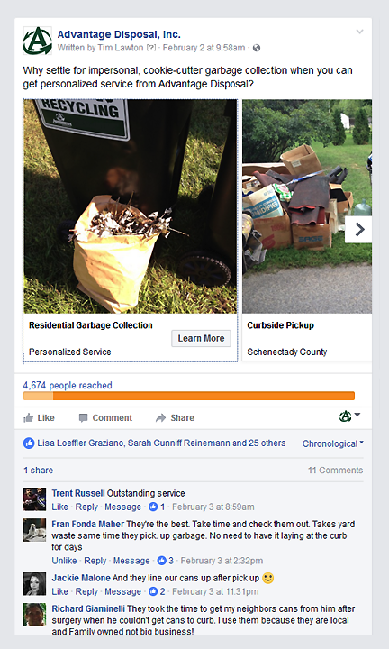 Advantage Disposal FB Ad 1