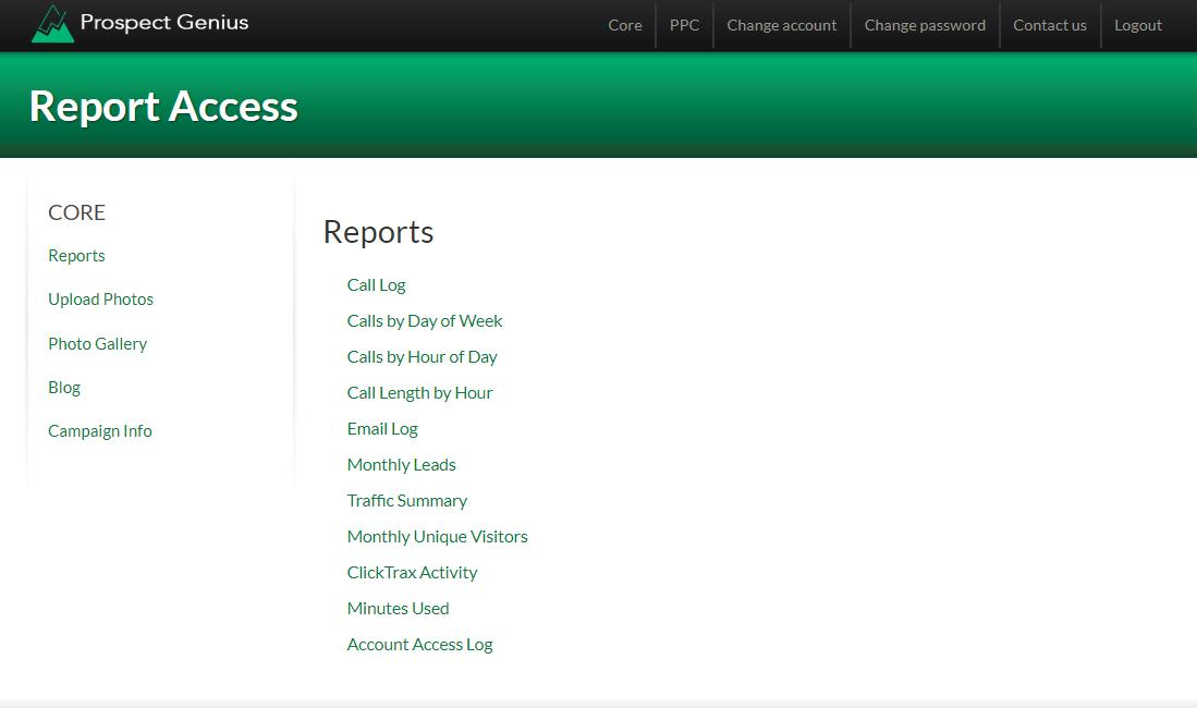 Client Portal Main Menu