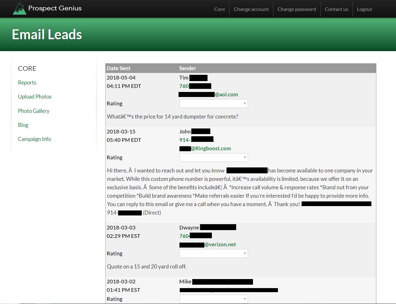 Client Portal Email Log